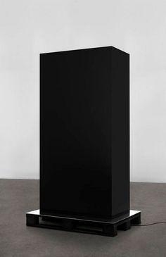 KASPER SONNE  Monolith (Hope and Death), 2009  Wood, aluminum, industrial paint, Euro pallet, ipod shuffle, speakers  84 1/2 × 39 1/2 × 31 1/2 in  214.6 × 100.3 × 80 cm