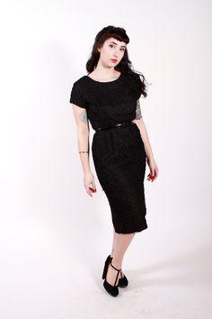 Vintage 1950s Dress Black Ribbon Wiggle 50s by stutterinmama, $98.00