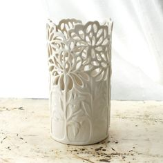 Small Carved Porcelain Chrysanthemum Vase by Isabelle Abramson.