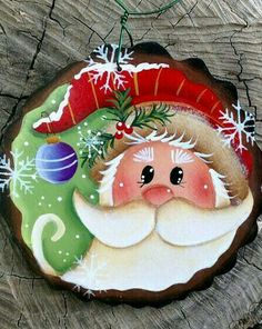 Diy Wood Ornaments Paint Ideas The Effective Pictures We Offer You About Diy Wooden Christmas Decorations, Painted Christmas Ornaments, Santa Ornaments, Wood Ornaments, Santa Paintings, Christmas Paintings, Christmas Rock, Christmas Holidays, Christmas Projects