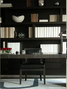 | P | Library styling with white books