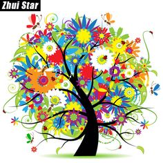 "Full Square Diamond 5D DIY Diamond Painting ""flower trees"" Embroidery Cross Stitch Rhinestone Mosaic Painting Home Decor Gift"