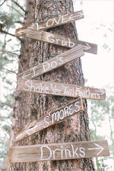 rustic diy wedding signage