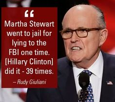 But the Clintons are above the law, Rudy.  AND.... Martha Stewart didn't give $675k to the wife of the #2 man of the FBI,  Andrew MCCabe. Comey should have insisted that McCabe not be involved with the investigation.