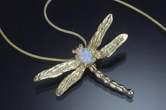 Dragonfly Pendant with Crystal Opal