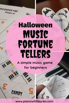 Music students love to play with Halloween fortune tellers! Review piano white key names, steps/skips on the staff, and accidentals with students in this fun, simple game. You can even give one to your students as a Halloween treat instead of candy.   Keep music games with students simple!   #teachpiano #pianowithlauren #pianoteacher #musicgame #Halloweenmusicactivity Music Games For Kids, Music Activities, Family Activities, Piano Lessons, Music Lessons, Halloween Music, Halloween Party, Piano Teaching, Learning Piano
