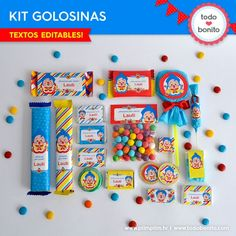 Plim Plim: kit etiquetas de golosinas Candy Bar Party, Party Favors, 2nd Birthday, Happy Birthday, Birthday Parties, Vintage Circus Party, Baby Mickey, Ideas Para Fiestas, Candy Boxes