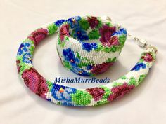 Necklace and bracelet Violets and Roses от MishaMurrBeads на Etsy