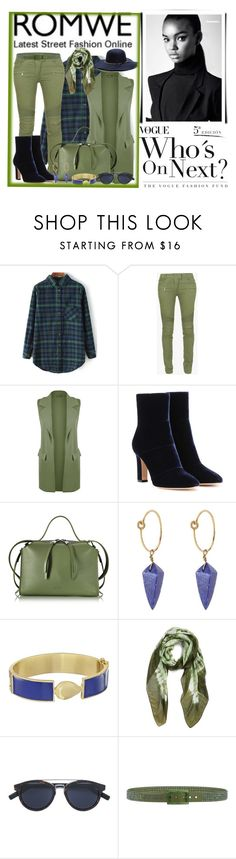 """""""Check Print Loose Green Blouse"""" by ann-kelley14 on Polyvore featuring Balmain, WearAll, Gianvito Rossi, Jil Sander, Theodora Warre, Karen Kane, La Fiorentina, Dior Homme and Tie-Ups"""