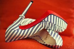 Christian Louboutin navy & white striped platrome pumps