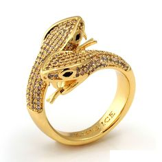 0850a1516099 JUNGL JULZ 18K Gold Twin-Headed Snake Ring Real Gold Jewelry