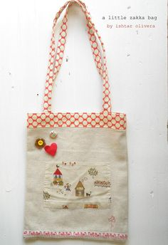 Gorgeous little zakka bag! I really like the combination of applique and buttons etc, really cute!