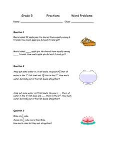 Grade 5 Fractions Word Problems