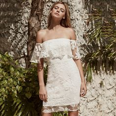 df67b6fa15 High quality ERDAOBEN Summer Women Mini Dresses White Off the Shoulder  Short Sleeve Strapless Lace Ruffle Bodycon Dress H4328-in Dresses from  Women s ...