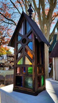 Stained glass birdhouse