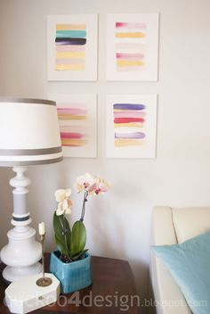 DIY pink, gold and white abstract brushstroke painting by cuckoo4design
