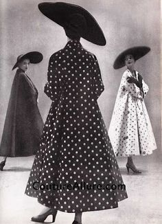 1949, traina-norell, polka dot swing coat, richard avedon, john frederics hats. coutureallure.blogspot.com
