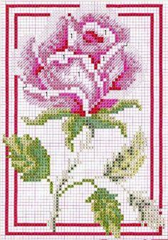 Ricami, lavori e schemi a puntocroce gratuiti: Tanti schemi a punto croce con tema le rose