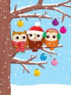 Cute owl on a limb Christmas Owls, Vintage Christmas, Christmas Time, Christmas Crafts, Christmas Ornaments, Merry Christmas, Bastelarbeit Winter, Owl Wallpaper, Iphone Wallpaper