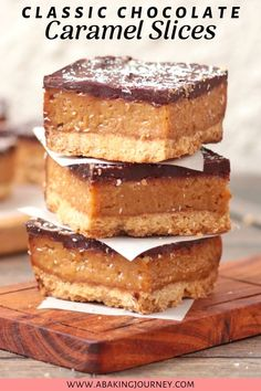 These Chocolate Caramel Slices are the ultimate afternoon snack made with a crunchy biscuit base, a gooey caramel layer and finished with dark chocolate. Easy Caramel Slice, Chocolate Caramel Slice, Cooking Chocolate, Chocolate Recipes, Easy Desserts, Delicious Desserts, Baking Recipes, Snack Recipes, Tea Snacks