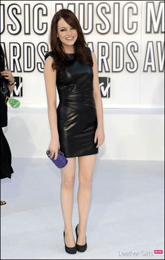 Emma Stone.. wish I could pull off a leather dress!