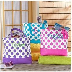 Polka Dot Tote Bag | Bridal Shower Gifts For Guests, Friends, Bridesmaids