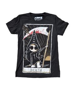 This short sleeve Akumu Ink crewneck features hand-drawn artwork of our Tokyo Chan character holding a scythe in our portrayal of the Death Tarot card. Our small coffin shaped logo is printed on the b