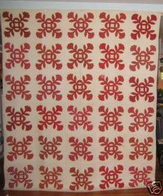 Antique Coxcomb Appliqued Quilt with Signatures   eBay