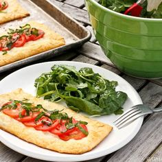 Great quick snack for when you aren't too hungry, add a salad..perfection.  Flat bread is a quicker easier method and just as good.