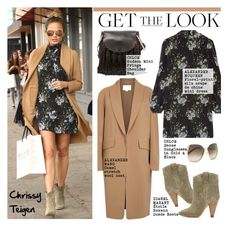 """Get the Look: Chrissy Teigen"" by helenevlacho ❤ liked on Polyvore featuring Alexander Wang, Alexander McQueen, Isabel Marant, Chloé, GetTheLook, StreetStyle, CelebrityStyle and ChrissyTeigen"