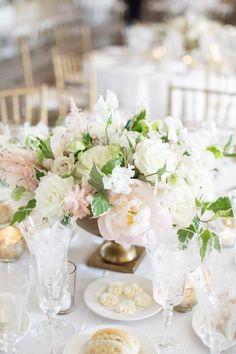 Sep 2019 - This Greenwich Bride Wore a Fairytale Gown Custom Designed by Monique Lhuillier Herself! Low Wedding Centerpieces, Wedding Top Table, Wedding Flower Arrangements, Wedding Decorations, Blush Centerpiece, Floral Centerpieces, Floral Arrangements, Whimsical Wedding, Floral Wedding