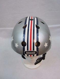 Nutcase Helmet Cyclist/Skateboarder L/XL Stars &Stripes Gray Used Bmx, Bicycle Helmet, Football Helmets, Skateboard, Cycling, Stripes, Gray, Stars, Skateboarding