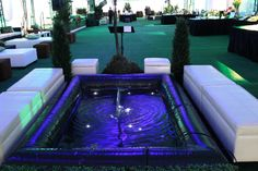 A 6x9 pond greeted guests after they checked their coats with delicate submersed lighting and 'park' benches to enjoy the sounds of the water.