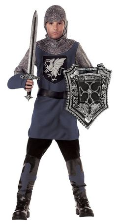 Valiant Knight (Black/Silver;Medium).  Includes tonic, hood, gloves, belt and shoe covers.  Does not include sword, shield, shoes, or pants. $19.70
