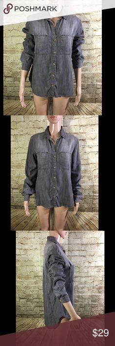 """Cloth & Stone Button Down Blouse Chambray Name Brand: Cloth & Stone  Condition: Pre Owned,Excellent condition, no holes, stains or flaws to note  Size: Extra Small (see measurements)  Color: Gray  Style: Button Down Blouse Rolled Sleeve  Material: 100% Tencel  Always check the measurements, label sizes are not consistent.  Measurements are approximate, and are of item laying flat and unstreched: Waist: 18.5"""" Length: 24.5""""Front  31"""" Back Bust:18.5"""" Sleeve: 24.5"""" Shoulder to Cuff Anthropologie…"""