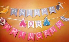 Disney Inspired gender reveal banner prince or princess reveal ideas Disney Gender Reveal, Gender Reveal Banner, Gender Reveal Themes, Gender Reveal Party Decorations, Gender Party, Baby Gender Reveal Party, Fun Baby Announcement, Prince, Reveal Parties