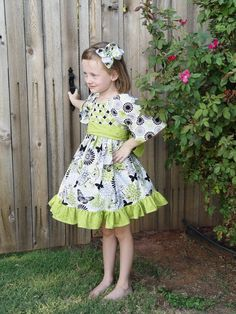 Boutique Girls Party Dress Easter Dress Birthday Childrens Clothing Twirly Girly Peasant Dress Boutique Hairbow 6-12m 18m 2t 3t 4t 5 6 on Etsy, $69.50