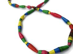 Retro Multi Coloured Necklace Paper Bead by PurpleSmoothie on Etsy, $15.95