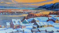 Dans Charlevoix by Vladimir Horik Winter Painting, Winter Art, Charlevoix, Canadian Art, Snow Scenes, Learn To Paint, Barns, Watercolors, Watercolor Art