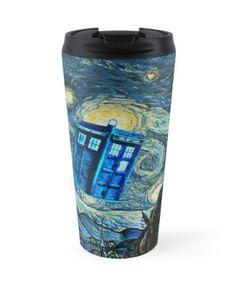British Blue phone box painting Travel Mug #mugs #travelmugs #tardis #tardisdoctorwho #doctorwho #phonebooth #publicalphone #fly #phonebox #soaring #british