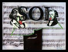 """SOL (Solve Polluti) Collage y óleo sobre tabla intervenida con impresión digital y sección de Violín. 30x40 Obra de la serie """"7 notas"""" del proyecto SEPTIES SEPTEM. http://septiesseptem.blogspot.com.es/"""