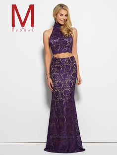 Feel enchanting with the Spring 2016 Mac Duggal Prom Dress Collections. Purple, two-piece, lace, crop top, high neck prom dress. 2 Piece Long Dress, Pure Couture, Prom Boutiques, Mermaid Gown Prom, Lace Dress, Dress Up, Casual Dresses, Formal Dresses, Formal Wear