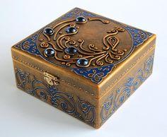 art inside — Wooden jewelry box — Blue Bird