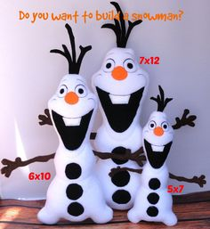 Olaf Snowman Frozen ITH Stuffed Doll Embroidery by UncleMattsCrib, $7.00