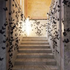 """For the latest installment of """"Black Cloud,"""" Carlos Amorales has filled the Fondazione Adolfo Pini in. Milan with fluttering black paper butterflies. Street Installation, Light Installation, Art Installations, Glass Cabin, Old Window Frames, Paper Artwork, Mandarin Oriental, Rainbow Art, Art Archive"""