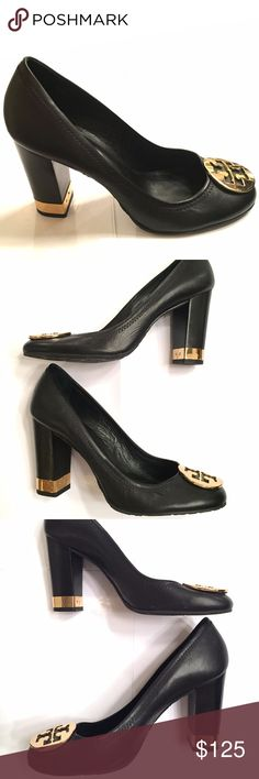 Tory Burch Leather Maddie Block Heel Pump, Black 8 Super-cute classic Tory Burch pumps. Black leather with goldtone hardware trim. Barely used; almost like new. Tights will def be back this Fall and these would be so cute with a skirt! (or jeans, skinny pants, wide-leg pants, a shift dress, etc.)  Condition: Worn 2-3x. Photos show every angle so you know exactly what the shoes look like. I do not have the box anymore; had to downsize when I moved! If you need more views, just ask!   Heel…
