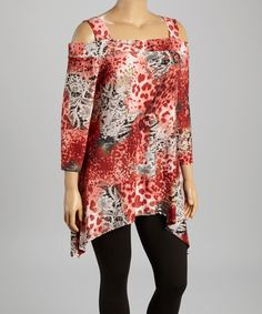 Loving this Red Jungle Cutout Sidetail Tunic - Plus on #zulily! #zulilyfinds