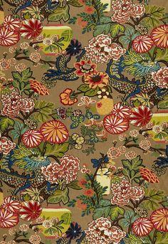 Chiang Mai Dragon Mocha 173274 by Schumacher Fabric Exuberant-Prints Linen - Horizontal: 27 and Vertical: 54 - Fabric Carolina - Chiang Mai, Fabric Wallpaper, Of Wallpaper, Chinese Wallpaper, Matching Wallpaper, Wallpaper Patterns, Luxury Wallpaper, Bathroom Wallpaper, Fabric Decor