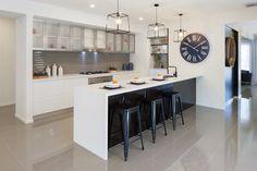 The Taya 300 display by #LongIslandHomesVIC #Kitcheninspo #Kitchen #Design #styling #decor #trends #interiordesign #contrast #pendantlights #tiles #cabinets  http://www.longislandhomes.com.au/