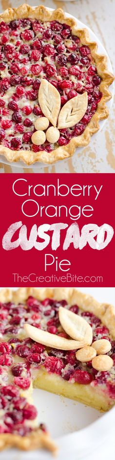 Cranberry Orange Custard Pie is a festive and unique dessert recipe to add to your holiday menu. A flaky pie crust is filled with silky sweet custard laced with orange zest and tart cranberries for a special treat you won't forget! #Cranberry #Pie #Dessert